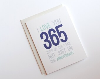 Anniversary Card - I Love You Card 365 Days - Happy Anniversary Card