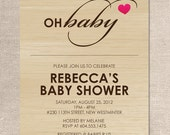 Oh Baby Heart - Wood - Baby Shower Invitation - Digital