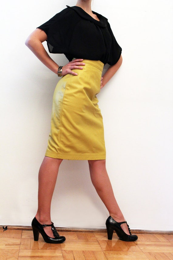 vintage leather pencil skirt mustard yellow leather skirt