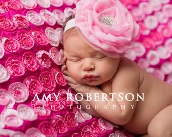 Baby Headband- Newborn Headband-  Pink Chiffon Flower on Soft White Elastic Headband