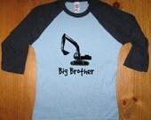 Big Brother Shirt - Big Brother T Shirt Boys Shirt - Raglan Tee Shirt - Construction Shirt - Sizes 2T, 4T, 6,  - Gift Friendly