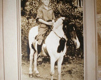 Pony Boy Cute Antique Sepia Photograph Features a Young Boy On a Spotted Pony