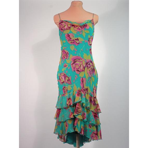 Betsey Johnson turquiose silk print cascading ruffle dress. Cha cha diva.