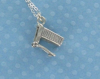 SHOPPING CART Necklace -925 Sterling Silver Charm on Sterling Box Chain