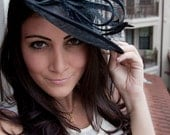 "Black Fascinator Hat - ""Wendy"" Wide Slightly brimmed mesh Fascinator Hat on a Headband"