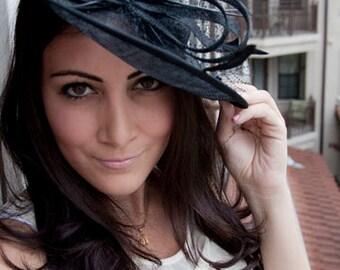 "Black Fascinator Hat - ""Wendy"" Wide Slightly brimmed mesh Fascinator Hat on a Headband"
