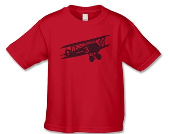 Vintage Feel Bi-Plane Birthday Shirt - Number 3 Plane T-Shirt - 3rd Birthday Shirt - Air Plane Birthday Party