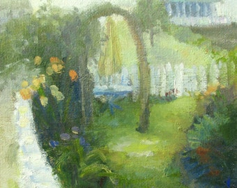 Cottage Garden in Rockport - original oil painting by Keiko Richter 6x8