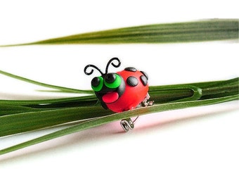 Whimsical Lady Bug - Red, Black, Green Eyes, Spring / Summer |PC-253