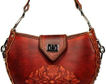 Tooled Leather Handbag - Keystone