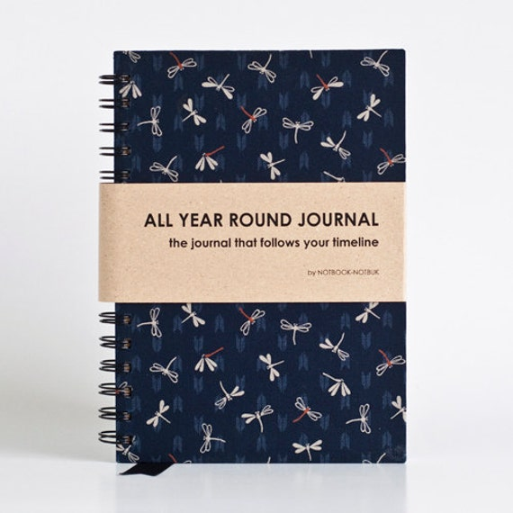 All Year Round Timeless Journal / Planner (Self-filled dates, fabric wrapped) - Dark Blue Japanese Dragonfly