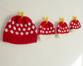 Mushroom Hat knit pattern - baby / Adult 7 sizes - Knit beanie polka dot PDF - toadstool costume - Instant Download