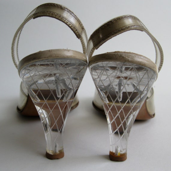 Vintage 1950s Wedding Shoes - Carved Lucite High Heels - Size 7 Bridal Fashions