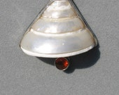 Mexican Fire Opal & Sea Shell Sterling Silver Pendant, ON SALE