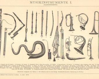 1896 Original Antique Engraving of Musical Instruments - Wind Instruments, Percussion Instruments and String Instruments