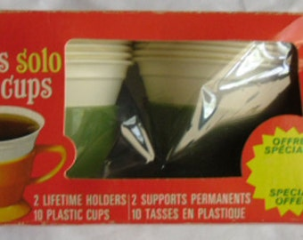 Vintage Kitchen - Solo Cozy Cups, Avocado Green, Original Box,  2 Holders Each with 5 Cups, 1960s Decor
