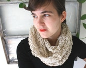 dropstitch cowl scarf, hand knit in oatmeal 100% wool