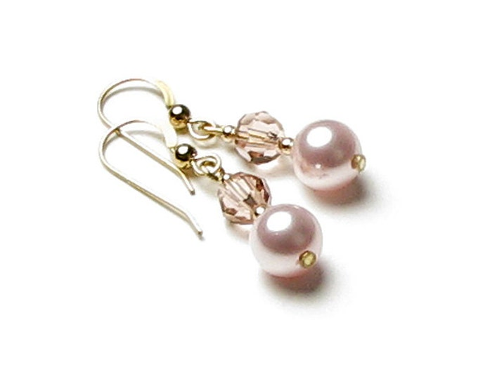 Blush Rose Swarovski Pearl and Pink Swarovski Crystal 14K Gold Filled Earrings Dainty Pink Wedding Jewelry Classic Mother of the Bride Gift