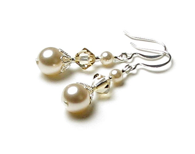 Cream Sachet Petite Swarovski Pearl Earrings, Golden Shadow Swarovski Crystal Wedding Earrings, Bridesmaid Gift, Mother of the Bride Jewelry