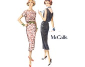 1950s Dress Pattern McCalls 4477 Misses Blouson Sheath Day or Evening Dress Bust 34 Womens Vintage Sewing Pattern