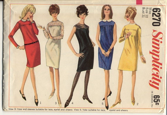 Simplicity 6270 Misses 1960s Dress Pattern Evening or Day Shift Dress Detachable Collar Cuffs Womens Vintage Sewing Pattern Bust 31 UNCUT