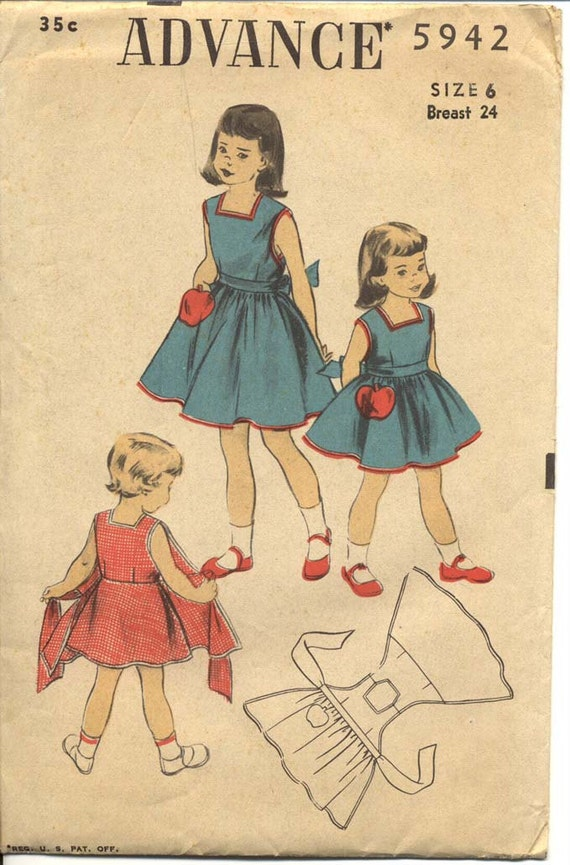 Advance 5942 Girls 1950s Apron Wrap Dress Pattern Wraparound Sundress Flared Skirt Jumper Childrens Vintage Sewing Pattern Breast 24 UNCUT