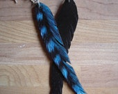 Rubber Feather Earring Semi-Blue Jay Style