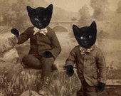 Black Cat Art, Mixed Media Collage Print, Kitten Boys, Altered Victorian Portrait of Twin Brothers