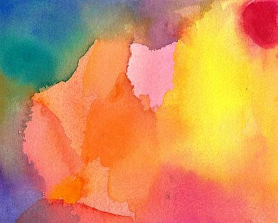 Shine On, Original Watercolor Painting, abstract art horizontal emotion red yellow orange pink