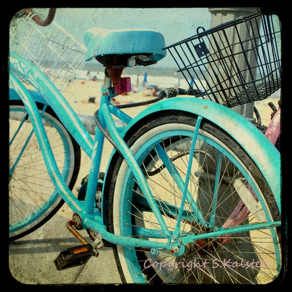 Vintage Bike Photograph Aquamarine Bicycle Beach Boardwalk