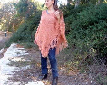 Peach Salmon Hand Knit Poncho, Women's Pullover Sweater, Pink Fringed Shawl