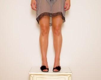 Silk Chiffon 'Sophia' Babydoll Slip in Black & White Stripe, Floral Black Lace with matching brief