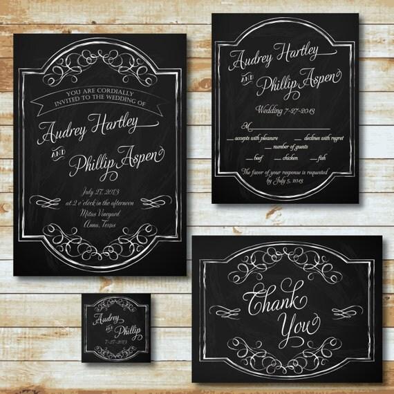 Diy Chalkboard Wedding Invitations: Items Similar To PRINTABLE Wedding Invitation Suite DIY