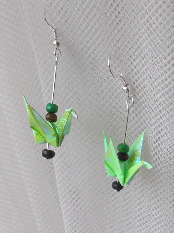 cute handmande tiny origami crane earrings