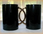 Pair Black Ceramic Vintage Mugs Striking Shiny Curved Goldtone Handles