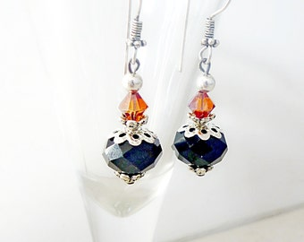 Earrings Vintage Style Black Glass and Magma Red Swarovski crystal with antiqued Silver