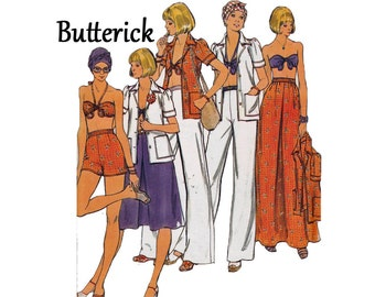 Vacation Wardrobe with Shirt Bra Top Bandeau Skirt Pants & Shorts UNCUT sewing Pattern Butterick 4236 Size 12 Bust 34 1970s