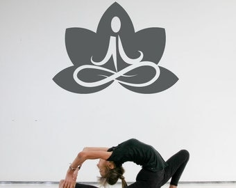 Lotus Flower Yoga Wall Art Decal Sticker - WD0184