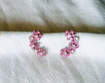 Earrings Pink and Clear Rhinestone Screwback Vintage Climber Wedding Bride Bridal Jewelry Jewellery Gift Guide Women