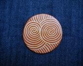 Fridge Clay Magnet- Spiral Sacred Geometry- Handmade Fridge Ceramic Pottery Magnet - Hand Painted Ceramic Magnet - Rustic Magnets