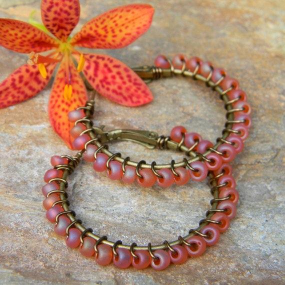 Beaded earrings bohemian jewelry beaded hoop earrings dusty pink glass handmade earrings beaded jewelry