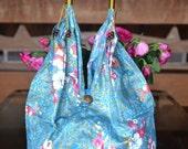 Hippie Hobo Shoulder Bag Purse Floral Flower Women Handbag Cotton In Light Blue - Large