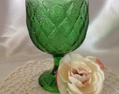 Green Glass Compote Goblet Colored Glass Dish Bowl