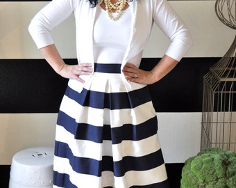 Striped midi skirt | Etsy