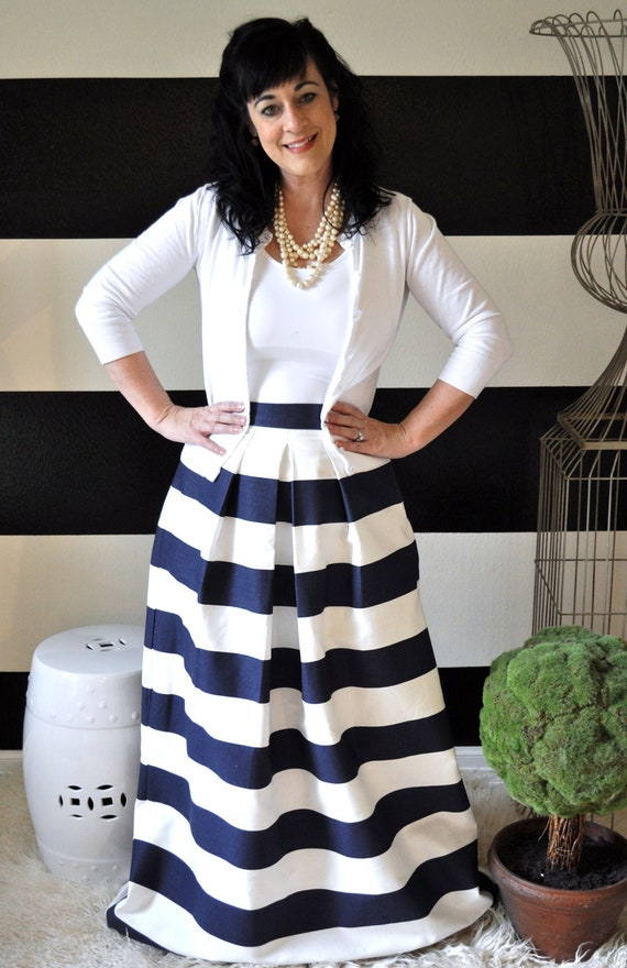 Navy and White Striped Maxi Ball or Midi Skirt full pleated