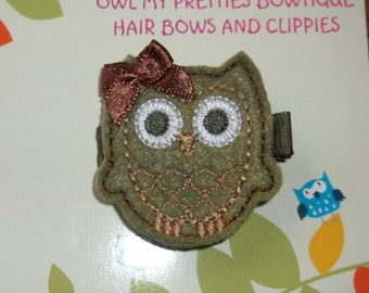 Army Green Military Felt Owl Hair Clip Clippie Baby Toddlers Girls