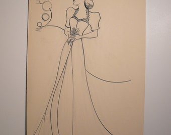 Original Art School Pen and Ink Fashion Drawing from 1933-35