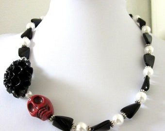 Sugar Skull Necklace Day of the Dead Red White Black Chrysanthemum Flower