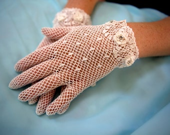 Lace gloves -- Ivory, Ecru, White, Black lace bridal gloves Swarovski crystals