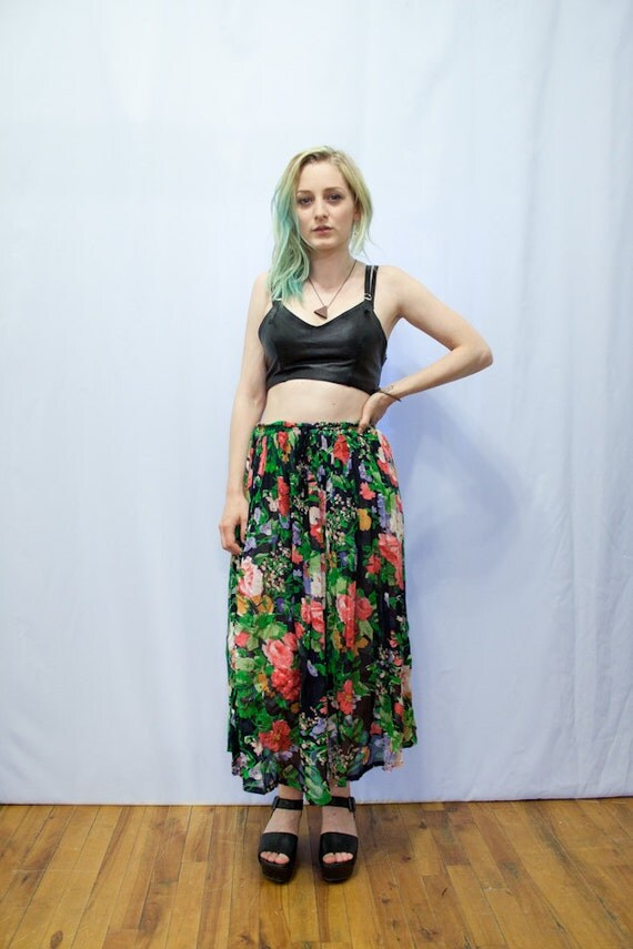 90s Colourful Floral Pleated Skirt M